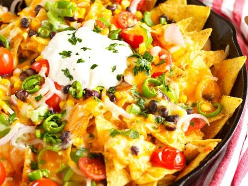 Healthy Vegetarian Nachos {with Rainbow Vegetables} - The Busy Baker